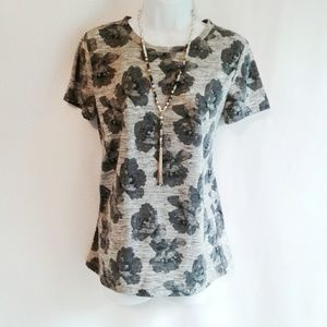 LOFT Gray Floral Tee FREE SHIPPNG ON ANY TWO ITEMS